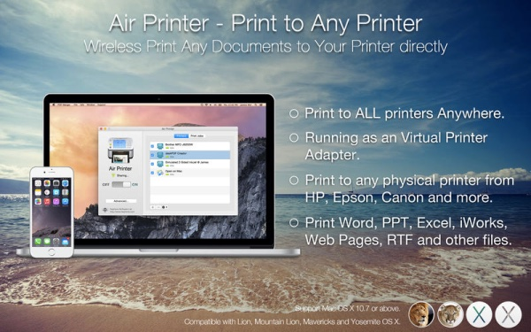 air printer print to any printer for mac enables airprint from