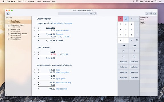 CalcTape for macOS 1 2 Adding Machine App for Mac Released